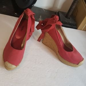 🤯3/$12 Mossimo Red Wedge Tie Ankle Size 7.5